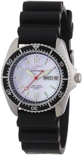 Chris Benz CBM.H.KB.SW - Reloj analógico de cuarzo unisex con correa de caucho, color negro