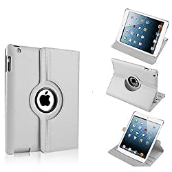 Gioiabazar 360 Rotating PU Leather Stand Case Cover For Apple ipad Air 5th Gen New White