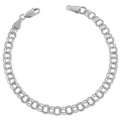 14 Karat White Gold Double Loop Charm Bracelet (8 inch)