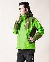 DEEKO Man39s Outdoor Front-zip Hooded Rain Jacket Outwear D1507-1 - Green - XL