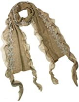 Acrylic & Polyester Fashion Carefree Chiffon Flowers Edge Knitted Long Scarf - Camel