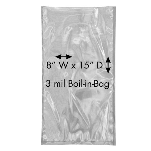 """Ultrasource 160815 Boil-In-Bags For Sous Vide Dishes Or Convenience Foods, 8"""" Wide X 15"""" Length, Clear (Pack Of 1000) front-166444"""