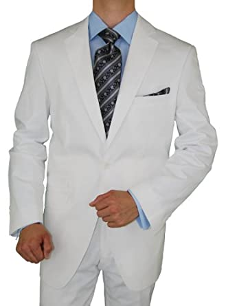 Bianco B Men's Cotton Stretch Modern Fit Two Button Ticket Pocket Suit White (40 Regular US)