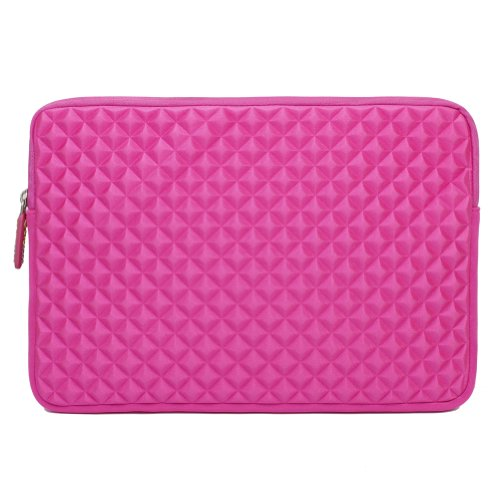 EveCase 11.6'' ~ 12.5'' Chromebook/ Ultrabook Notebook Diamond Fizz Splash & Shock Resistant Neoprene Sleeve Prove Travel Bag (Hot Pink)