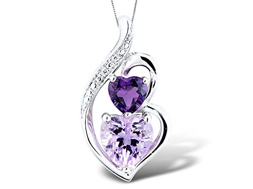 Amethyst Necklace Heart Shape with Diamond Accent in Sterling Silver with Chain