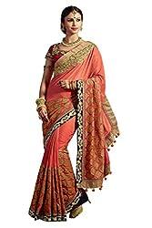 Fashionate Art Silk-Jacquard Peach Embroidery Saree