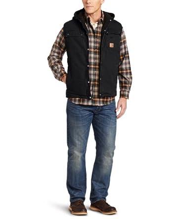 Carhartt Men's Sandstone Duck Hooded Multi Pocket Vest Sherpa Lined, Black, 2X