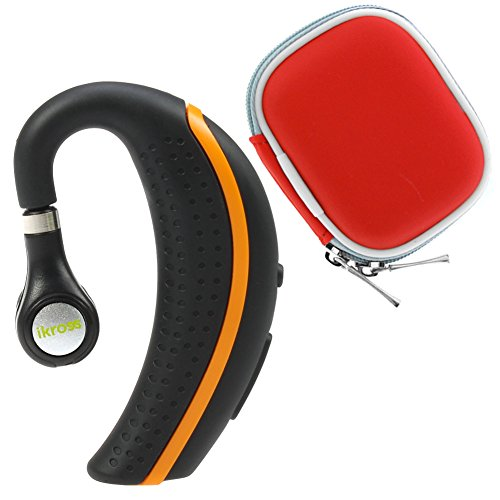 Ikross Black/ Orange Behind-The-Ear Wireless Bluetooth Handsfree Headset + Red Headset Case For Microsoft Surface Pro 3/ Pro 2/ 2, Lenovo, Acer, Asus, Lg, Dell, Toshiba, Hp Tablet