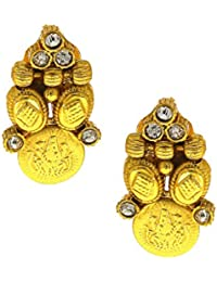 Anuradha Art Golden Finish Styled With Shimmering White Colour Stone Traditional Stud Earrings For Women/Girls