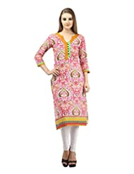 DEE'S By Dashmesh Women's Pink Cotton Front Back Print Kurti