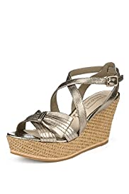 Autograph Leather Half Bow Wedge Sandals with Insolia