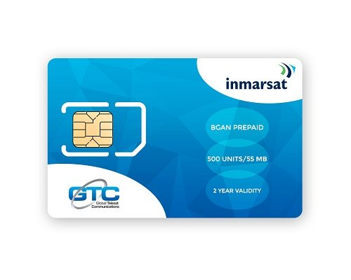 Inmarsat BGAN Prepaid SIM Card with 500 units (55.00MB*) valid for 24 Months By GTC
