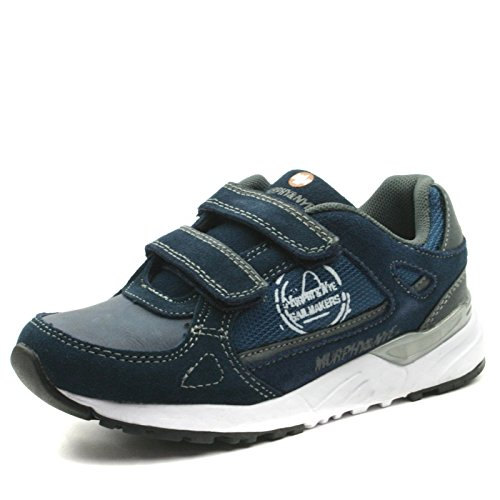MN912 Murphy&Nye Boys Sporty Velcro Straps Shoe in Navy Blue White Sole Taglia 34