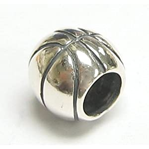 Sterling Silver Basketball Bead For Pandora European Charm Bracelets Jewelry