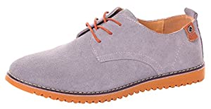 Runday Men's Fashion Suede Leather Shoes Round Toe Lace Up Casual Oxfords(10.5 D(M)US,grey)