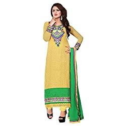 ARAJA FASHION NEW CLASSICAL DESIGNER GOOD LOOKING YELLOW GEORGETTE EMBROIDERED AND STONE WORK UNSTICHED FESTIVAL AND MARRIAGE WEAR CHUDIDAR DRESS MATERIAL COLLECTION