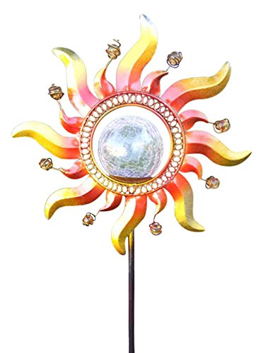 Garden Sunlight Shining Sun Solar Powered Color Changing Glass Crackle Stake Light