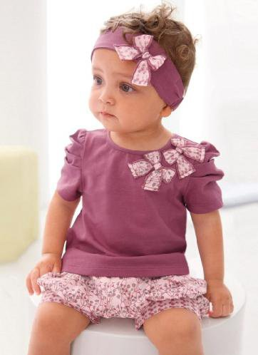 Baby Clothing/Cute Baby Suit/Tops+Short Pants+Headband/Baby Wear (10-12Months)