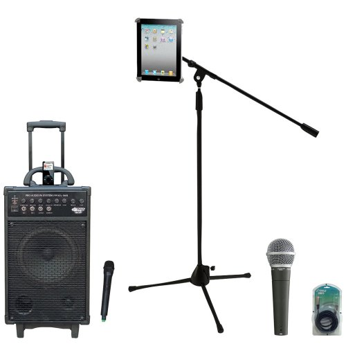 Pyle Speaker, Mic, Cable And Stand Package - Pwma860I 500W Vhf Wireless Portable Pa Speaker System /Echo W/Ipod Dock - Pdmic58 Professional Moving Coil Dynamic Handheld Microphone - Pmkspad1 Multimedia Microphone Stand With Adapter For Ipad 2 (Adjustable