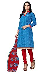 7 Colors Lifestyle Blue Coloured Embroidered Chanderi Unstitched Dress Material