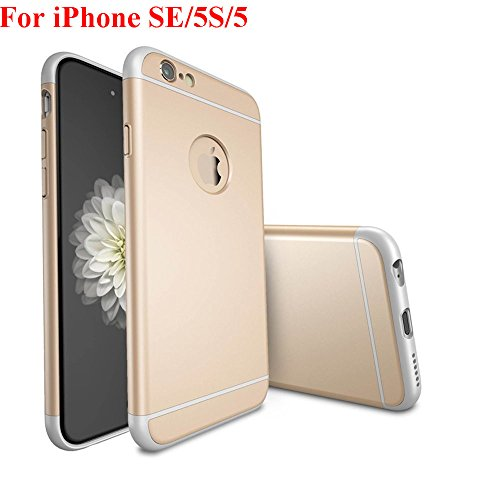iPhone SE Case, iPhone 5 Case, iPhone 5S Case, Asstar Luxury 3in1 Ultra-thin Hard Plastic Premium Shock Anti Scratch Shockproof Cover Skin Hard PC Back Case for iPhone 5S (Gold) (3in1 Contact Case compare prices)