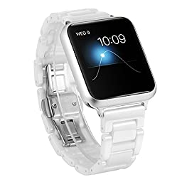 Ceramic Apple Watch Band, SOWELL Fashional Bracelet Replacement Wrist Band for Apple iWatch (White 42MM)