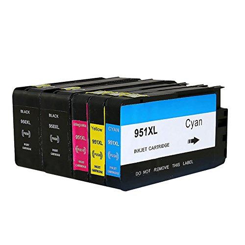 Bosumon 950XL 951XL Tintenpatronen 1Set + 1BK Kompatibel mit HP Officejet Pro 8600 8610 8620 8630 8640 8100 8660 8625 8615 251dw 276dw