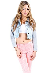 Attached Hood and Sleeves Vest in Light Denim