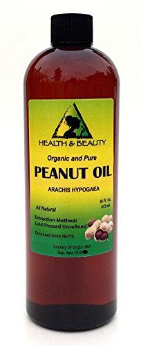 buy Peanut Oil Unrefined Organic Carrier Cold Pressed Virgin Raw Pure 16 Oz