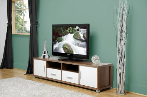 Image of Chisholm Walnut Effect Modern TV Cabinet with White Doors (B008LX6WSM)