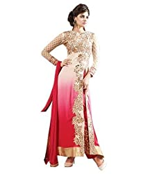 Shreenathji Enterprise Red and Cream Georgette Dress Materials (H159_red and cream_Free size)