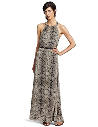Jessica Simpson Women's Halter Belted Maxi Dress, Anaconda Black, 4