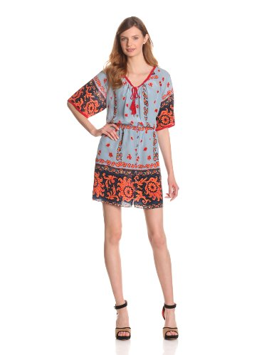 Plenty by Tracy Reese Women's Scarf Placement Foulard Peasant Dress, Chambray/Desert Flower, Large