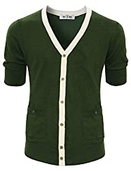 Tom's Ware mens Classic Slim Fit Ribbed Six Buttoned Cardigan TWCMC06-KHAKI-US XS/S (ASIAN M)