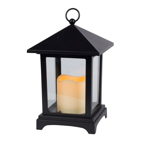 Gerson 9-Inch Over Size Roof Black Plastic And Glass Pane Lantern With 2.5 By 3-Inch Indoor/Outdoor Led Candle