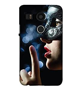 PrintHaat Designer Back Case Cover for LG Nexus 5X :: LG Google Nexus 5X New (a beautiful girl wearing a mask in black :: a brown eyed girl wearing a mask :: woman in mask :: keep silence)