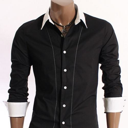 Brand New Mens Casual Slim fit Dress Shirts Black White Collar XL