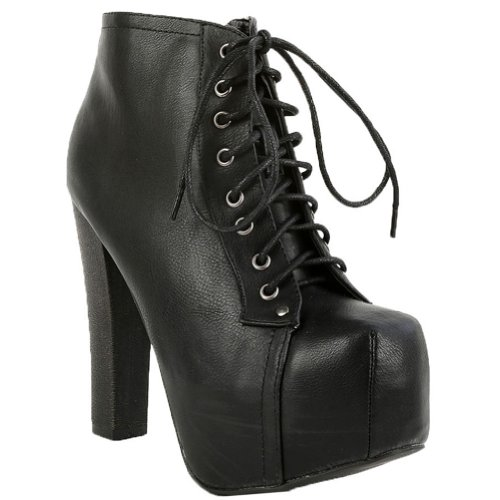 Breckelle's BRITNEY-02 Women's Round Toe Lace Up Zipper Wooden Chunky High Heel Platform Ankle Booties