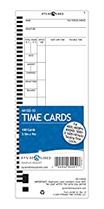 Pyramid 44100-10 Time Cards for 4000, 4000Pro, 4000HD, 5000 & 5000HD Auto Totaling Time Clocks, 100/Pk