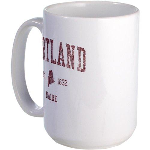 Cafepress Portland Maine Red Large Mug Large Mug - Standard