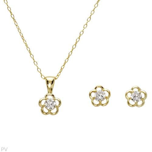 Irresistible Jewelry Set - Brand New Stud Earrings with 0.73ctw Cubic Zirconia Made in 14K/925 Gold Plated Silver, Brand New Necklace with 0.73ctw Cubic Zirconia Made in 14K/925 Gold Plated Silver