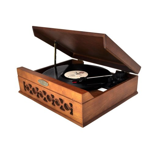 Pyle Home Pvntt6Umt Vintage Style Phonograph/Turntable With Usb-To-Pc Connection (Dark Maple)