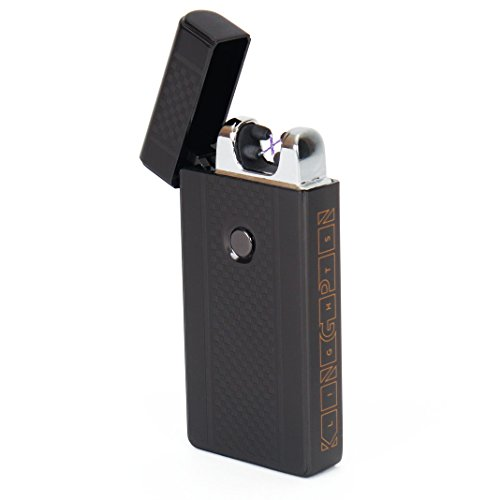 Kingpin Lights™ Black Electric Arc Lighter - Windproof Dual Arc Plasma Lighter - USB Rechargeable Dual Pulse Electronic Lighter - Flameless Plasma Beam Lighter (Bbq Pit Wars compare prices)