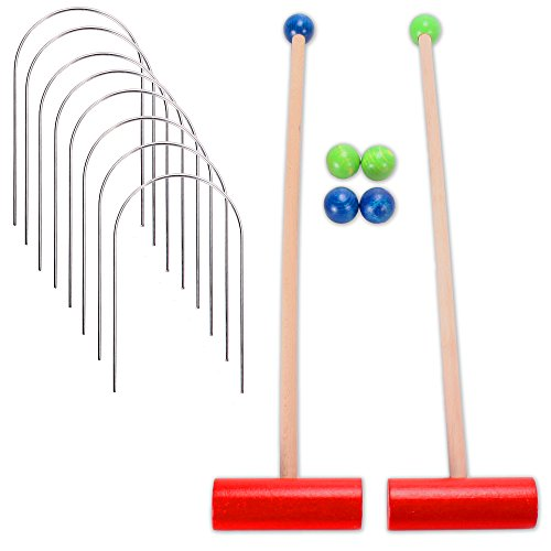 14 teiliges Kinder Krocket Spiel Holz mit Schlägern Toren Holzkugeln