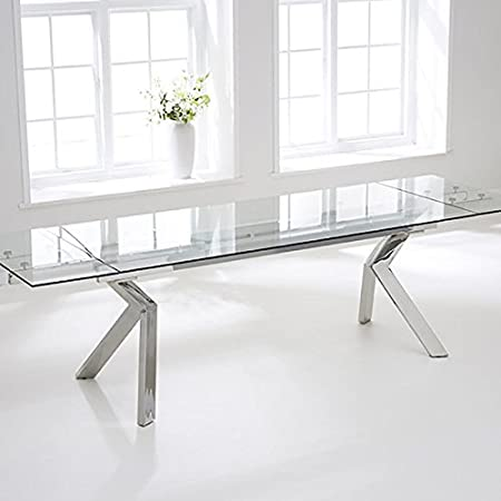 Palazzo 200cm Stainless Steel And Glass Extending Dining Table