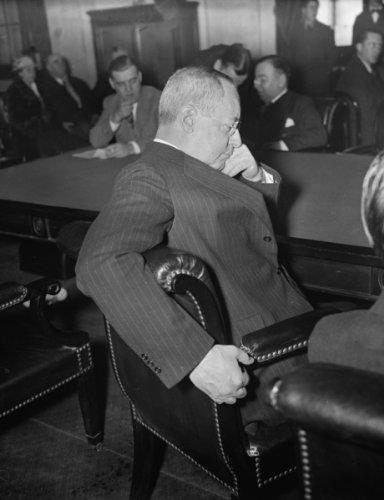 1937 Mar 2. New York Stock Exchange Head at Senate hearing. Washington, D.C., Mar 2. Charles R. Gay,
