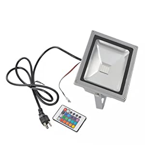 20W RGB Color Changing LED Flood Light 85~264V Outdoor 1600LM With Remote Control
