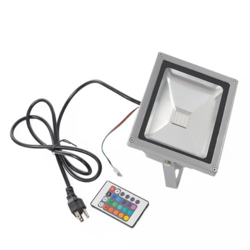 Housweety 20W Rgb Color Changing Led Flood Light 85~264V Outdoor 1600Lm With Remote Control