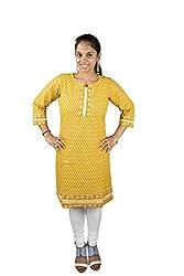 KeKe Women's Cotton Kurti (AB9301S_Small_Yellow)