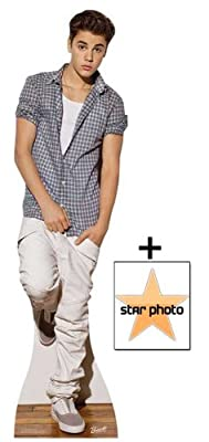 *FAN PACK* - Justin Bieber wearing Check Shirt Lifesize Cardboard Cutout / Standee - INCLUDES 8X10 (25X20CM) STAR PHOTO - FAN PACK #371